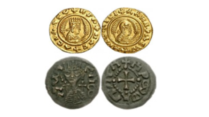 Ancient Ethiopian coins bearing the sign of the cross